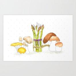 asparagus and mushrooms Art Print