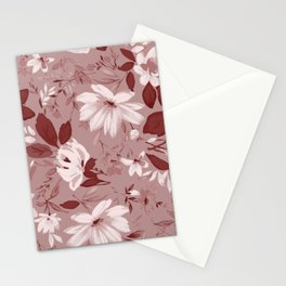 Floral Pink Roses and Flowers Stationery Cards