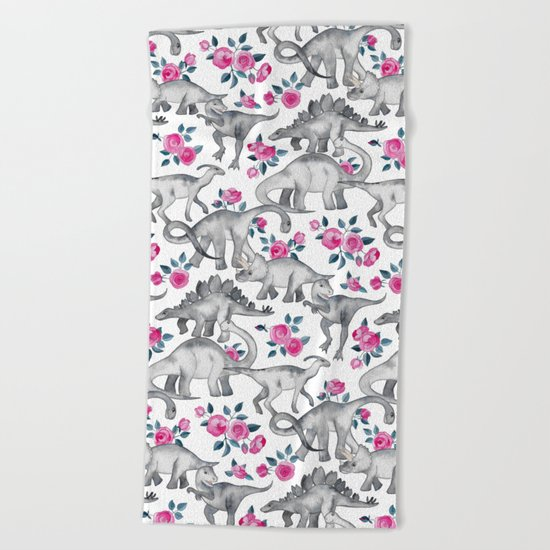 Dinosaurs and Roses - white Beach Towel