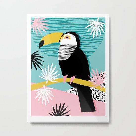 Loopy - wacka designs abstract bird toucan tropical memphis throwback retro neon 1980s style pop art Metal Print