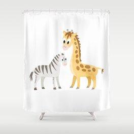 Safari Baby Zebra and Giraffe Shower Curtain