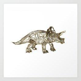 GOLD TRICERATOPS Art Print