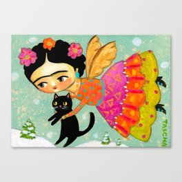 Winter Angel with Black Cat  by Tascha Canvas Print