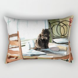 Cat on a Table With Light Coming Through a Window Rectangular Pillow