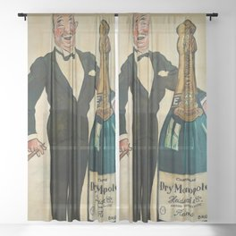 Vintage Roaring Twenties Dry French Champagne Monopole Bottle Advertising Poster for kitchen, dinning room & wall decor  Sheer Curtain
