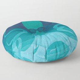 Octopus, sea creature, animals, ocean watercolor teal blue Floor Pillow