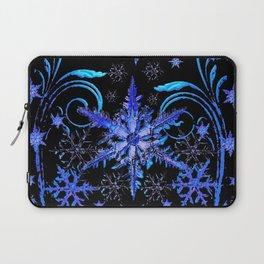 DECORATIVE BLACK & BLUE WINTER SNOWFLAKE FANTASY ART Laptop Sleeve