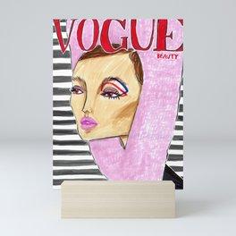 60's Beauty – Fashion Magazine Cover – Original Fashion art, Fashion Illustration, Fashion wall art Mini Art Print
