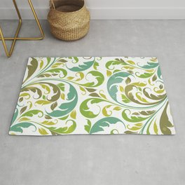 Whimsical Leaf Pattern in Green and White Rug
