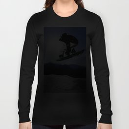 Born To Fly Snowboarder & Mountains Long Sleeve T-shirt