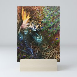 Exotic Leopard Peacock Feather Animal Print Floral Mini Art Print