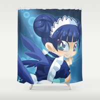 mew Shower Curtains featuring Mint Maid by Corpse Cutie