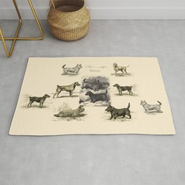 TERRIER DOGS Illustration Rug