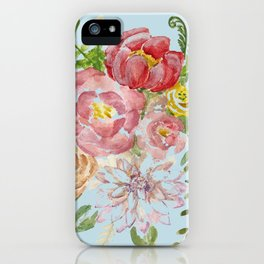 Bouquet of Watercolor on Blue Background iPhone Case
