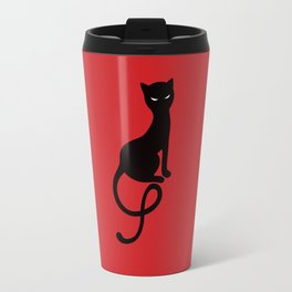 Red Gracious Evil Black Cat Travel Mug
