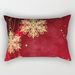 Pretty Christmas Ornaments Red Gold Holiday Decor Rectangular Pillow