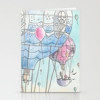 hot air balloon Stationery Cards featuring Hot air balloon party by Dreamy Me
