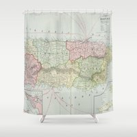 puerto rico Shower Curtains featuring Vintage Map of Puerto Rico (1901) by BravuraMedia