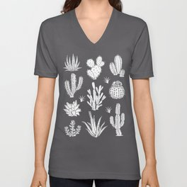 Cactus Pattern on Teal Unisex V-Neck