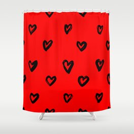 Hand Drawn Hearts in Black on Red Background Shower Curtain