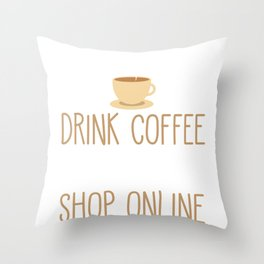 Coffee Drinker Lazy Employee Online Shopping Throw Pillow