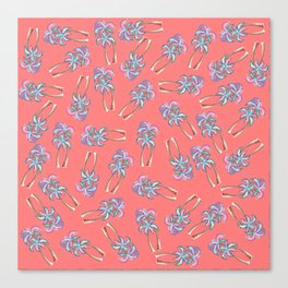 Girly Summer Tropical Palm Trees Pattern on Coral Canvas Print