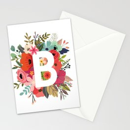 B – Monogrammed Floral Initial Stationery Cards