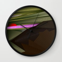Strange psychedelic landscap with stylised mountains, sea and red Sun. Wall Clock