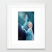 frozen elsa Framed Art Prints featuring Elsa Frozen by This Is Niniel Illustrator
