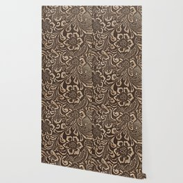 Gold & Brown Flowered Tooled Leather Wallpaper