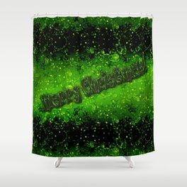 Merry Christmas! Green glitter, sequins Shower Curtain