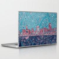 cincinnati Laptop & iPad Skins featuring cincinnati city skyline by Bekim ART