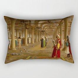 Islamic Masterpiece 'Prayer in the Mosque' by Jéan Leon Gerome Rectangular Pillow