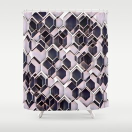 blue grey purple black and white abstract geometric pattern Shower Curtain