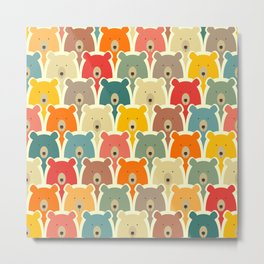 Bears cartoon pattern Metal Print