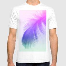 Painted Feather MEDIUM White Mens Fitted Tee