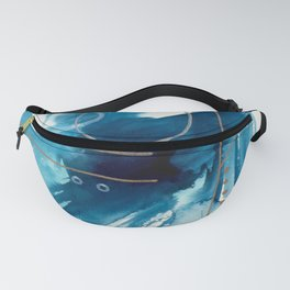 Beneath the Waves Series 2 - a blue and gold abstract mixed media set Fanny Pack