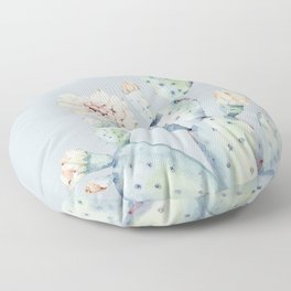 Prettiest Rose Cactus Blue Floor Pillow