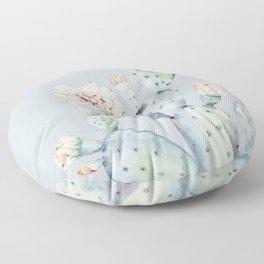Prettiest Rose Cactus Blue Floor Pillow