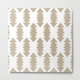 Southwest Criss Cross Pattern in Neutral Flax and White Metal Print