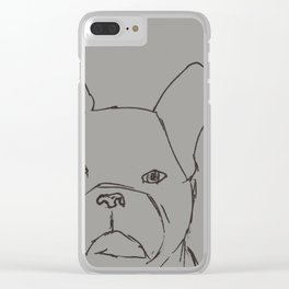 Sketched Frenchie (Grayscale) Clear iPhone Case