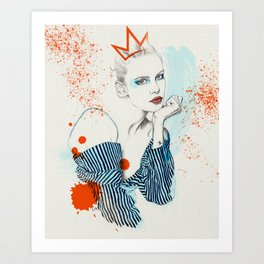 Stripes / orange and blue Art Print