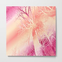 Psychedelic Trees (strawberry-peach) Metal Print