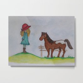 Little farm girl and the pony Metal Print