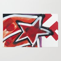 grafitti Area & Throw Rugs featuring Grafitti Star by Leslie Philipp