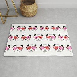 Valentines Day Panda - love panda, panda glasses, cute nerdy panda, heart, hearts, sweet panda Rug