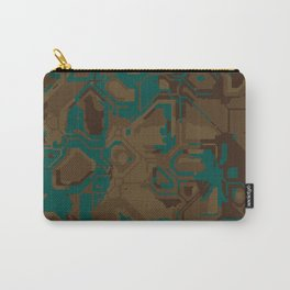 Peacock and Brown Carry-All Pouch