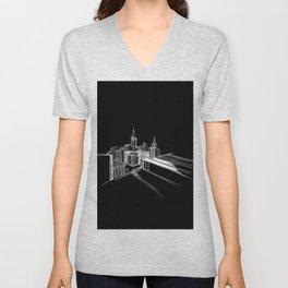 Vibrant City Black Background Unisex V-Neck