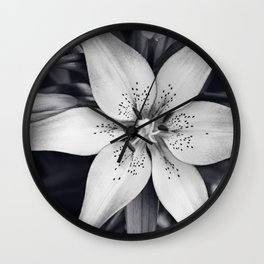 Black and White Lily Flower Photography, Grey Floral Art, Lillies Photo, Grey Lilly Nature Print Wall Clock