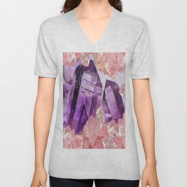 PURPLE AMETHYST & PINK CRYSTALS DESIGN Unisex V-Neck
